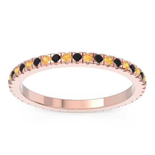 Eternity Pave Kona Black Onyx Band with Citrine in 18K Rose Gold