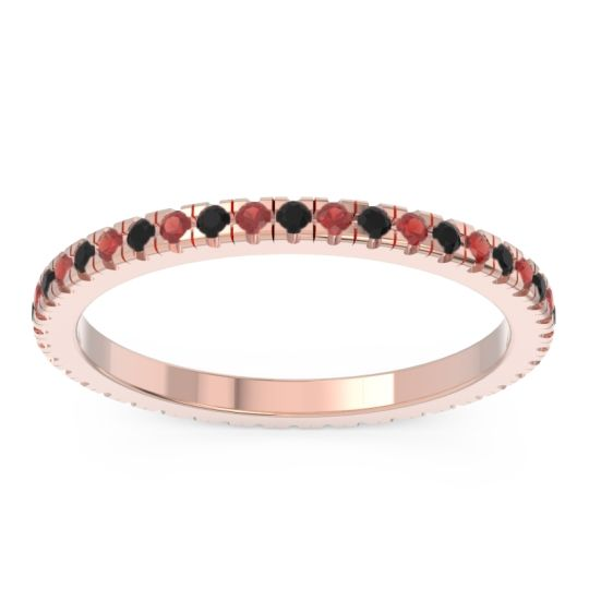 Eternity Pave Kona Black Onyx Band with Garnet in 18K Rose Gold