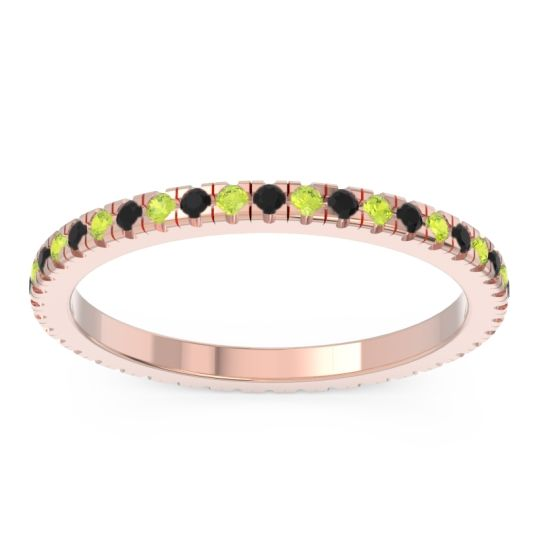 Black Onyx Eternity Pave Kona Band with Peridot in 18K Rose Gold
