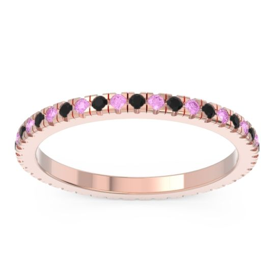 Eternity Pave Kona Black Onyx Band with Pink Tourmaline in 14K Rose Gold