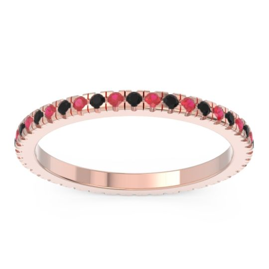 Black Onyx Eternity Pave Kona Band with Ruby in 14K Rose Gold