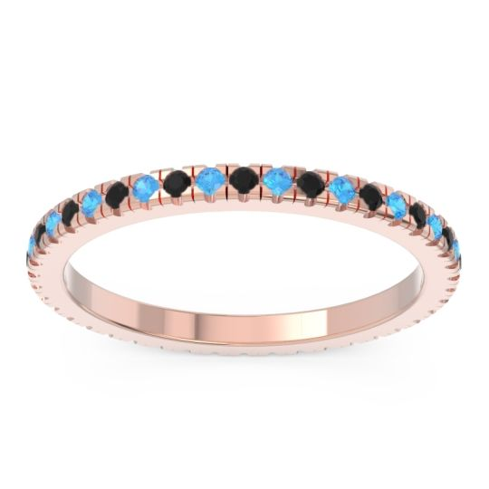 Black Onyx Eternity Pave Kona Band with Swiss Blue Topaz in 14K Rose Gold