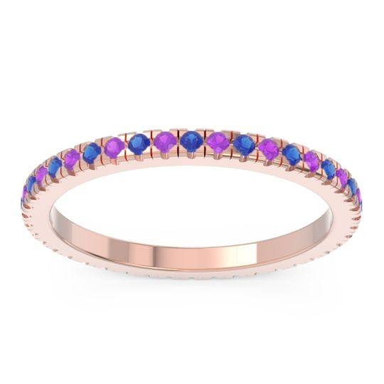 Blue Sapphire Eternity Pave Kona Band with Amethyst in 18K Rose Gold