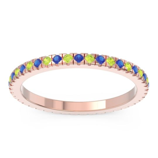 Blue Sapphire Eternity Pave Kona Band with Peridot in 14K Rose Gold