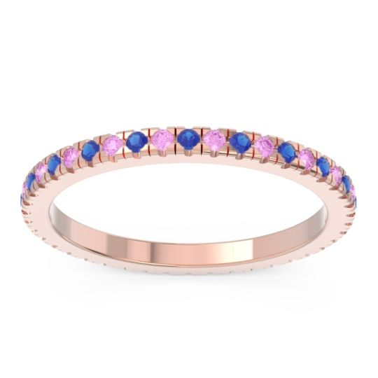 Blue Sapphire Eternity Pave Kona Band with Pink Tourmaline in 14K Rose Gold