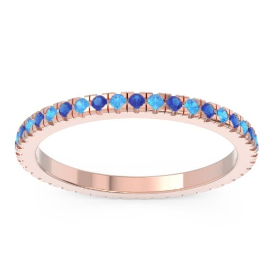 Eternity Pave Kona Blue Sapphire Band with Swiss Blue Topaz in 14K Rose Gold