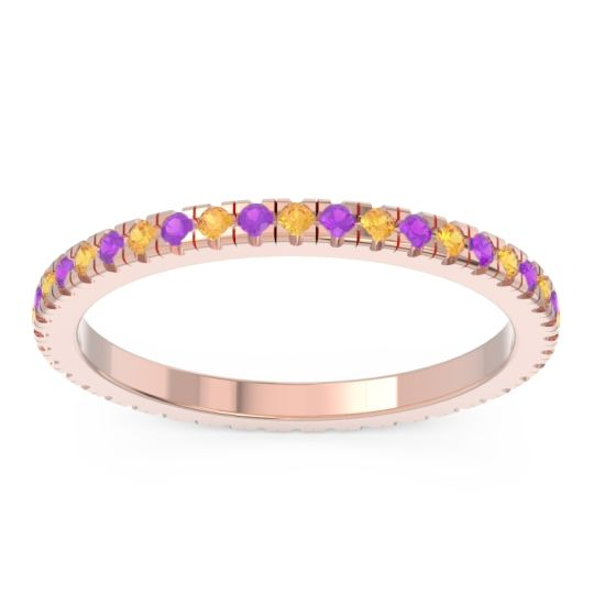 Eternity Pave Kona Citrine Band with Amethyst in 18K Rose Gold