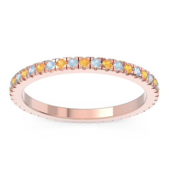 Citrine Eternity Pave Kona Band with Aquamarine in 18K Rose Gold