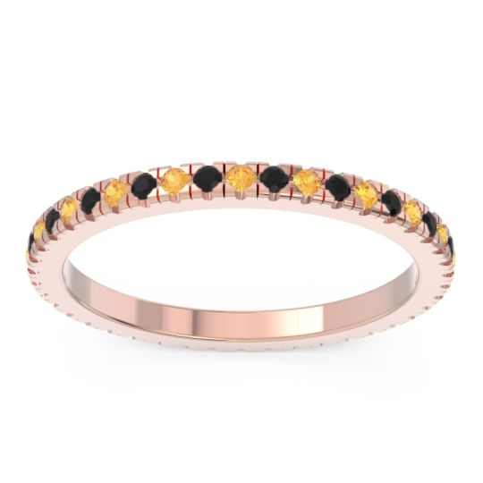 Citrine Eternity Pave Kona Band with Black Onyx in 18K Rose Gold