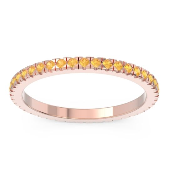 Citrine Eternity Pave Kona Band in 14K Rose Gold