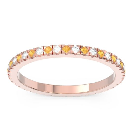 Citrine Eternity Pave Kona Band with Diamond in 18K Rose Gold
