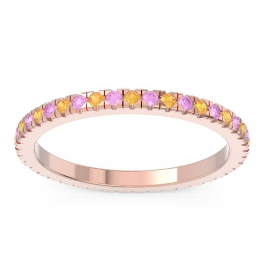 Citrine Eternity Pave Kona Band with Pink Tourmaline in 18K Rose Gold