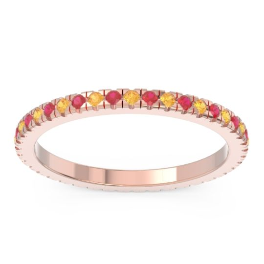 Eternity Pave Kona Citrine Band with Ruby in 18K Rose Gold