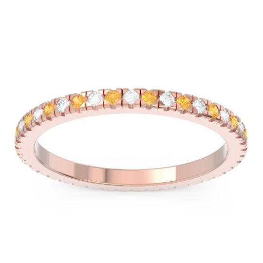 Diamond Eternity Pave Kona Band with Citrine in 18K Rose Gold