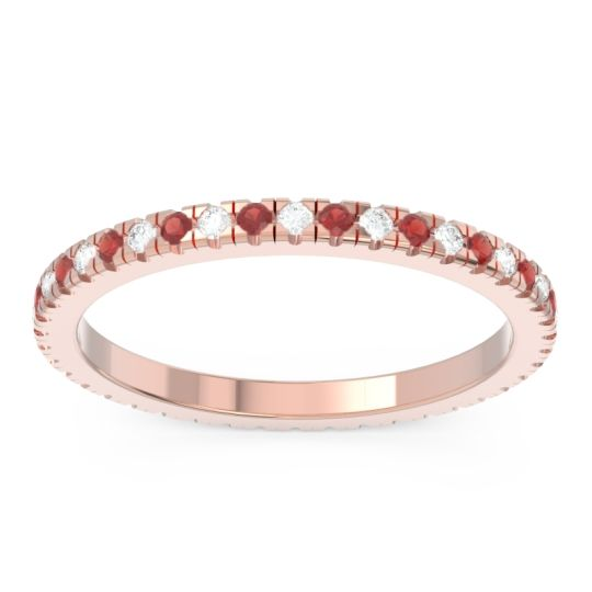 Diamond Eternity Pave Kona Band with Garnet in 18K Rose Gold