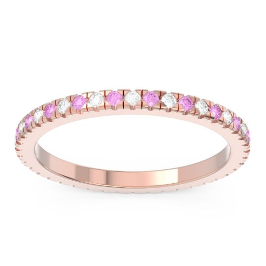 Diamond Eternity Pave Kona Band with Pink Tourmaline in 18K Rose Gold