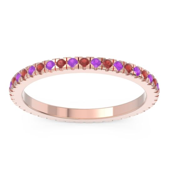 Garnet Eternity Pave Kona Band with Amethyst in 14K Rose Gold