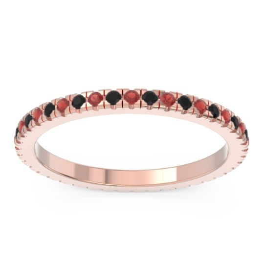 Eternity Pave Kona Garnet Band with Black Onyx in 18K Rose Gold