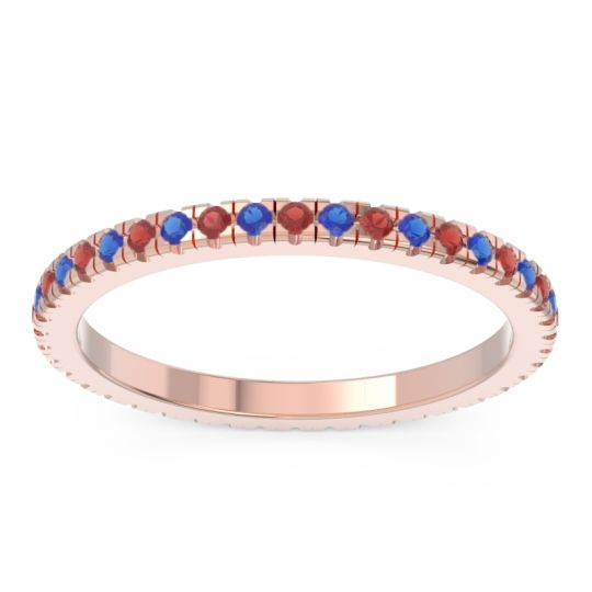 Eternity Pave Kona Garnet Band with Blue Sapphire in 14K Rose Gold
