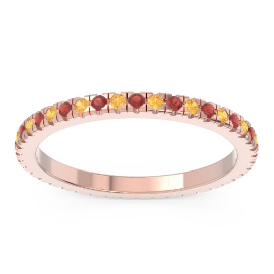 Garnet Eternity Pave Kona Band with Citrine in 14K Rose Gold