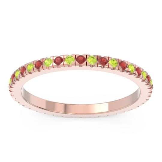 Eternity Pave Kona Garnet Band with Peridot in 18K Rose Gold