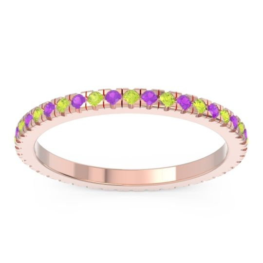Peridot Eternity Pave Kona Band with Amethyst in 14K Rose Gold