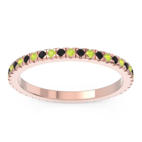 Eternity Pave Kona Peridot Band with Black Onyx in 14K Rose Gold