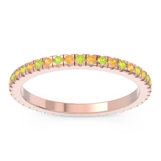 Eternity Pave Kona Peridot Band with Citrine in 18K Rose Gold