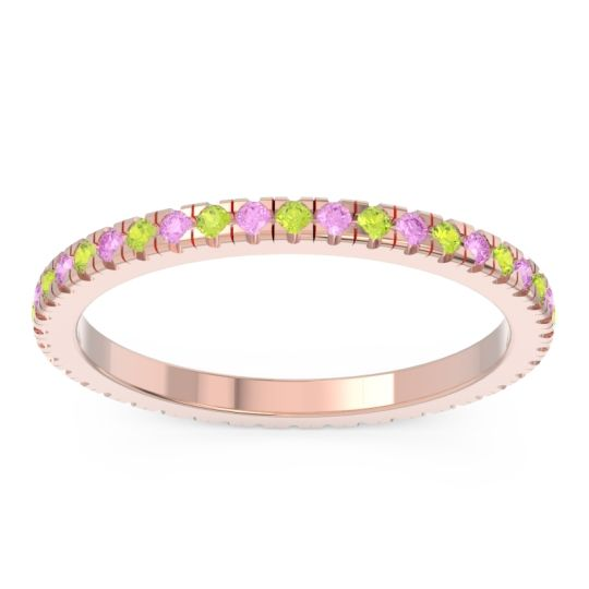 Peridot Eternity Pave Kona Band with Pink Tourmaline in 18K Rose Gold