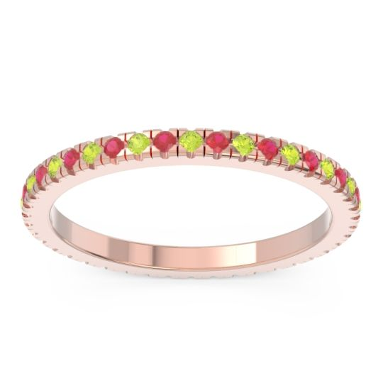 Peridot Eternity Pave Kona Band with Ruby in 14K Rose Gold