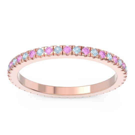 Eternity Pave Kona Pink Tourmaline Band with Aquamarine in 14K Rose Gold