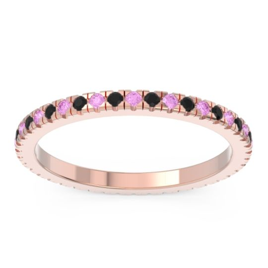 Pink Tourmaline Eternity Pave Kona Band with Black Onyx in 14K Rose Gold