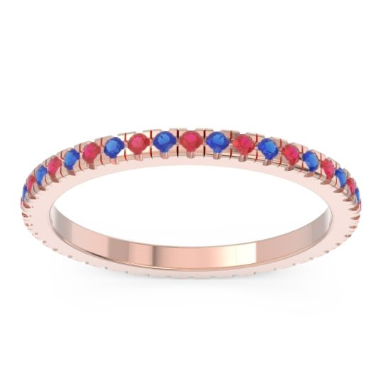Ruby Eternity Pave Kona Band with Blue Sapphire in 18K Rose Gold