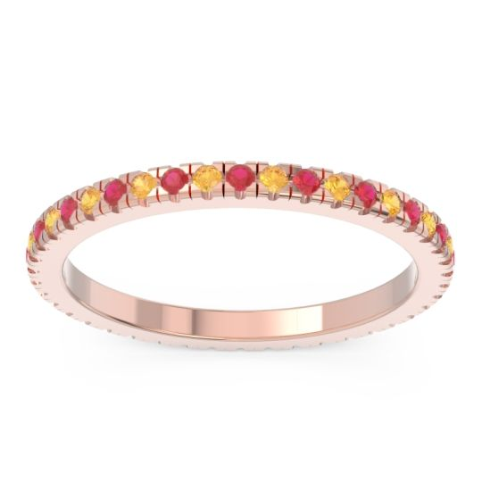 Ruby Eternity Pave Kona Band with Citrine in 14K Rose Gold
