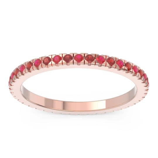 Ruby Eternity Pave Kona Band with Garnet in 14K Rose Gold