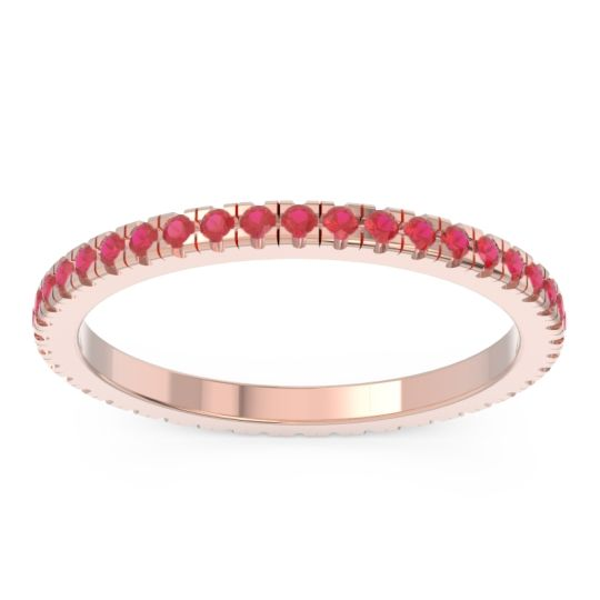 Ruby Eternity Pave Kona Band in 14K Rose Gold