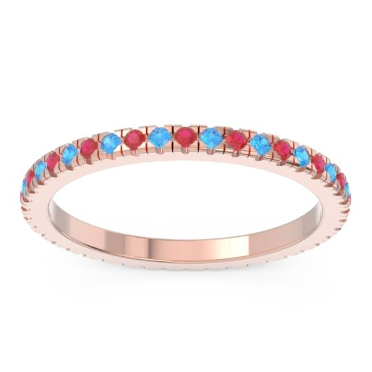 Eternity Pave Kona Ruby Band with Swiss Blue Topaz in 14K Rose Gold