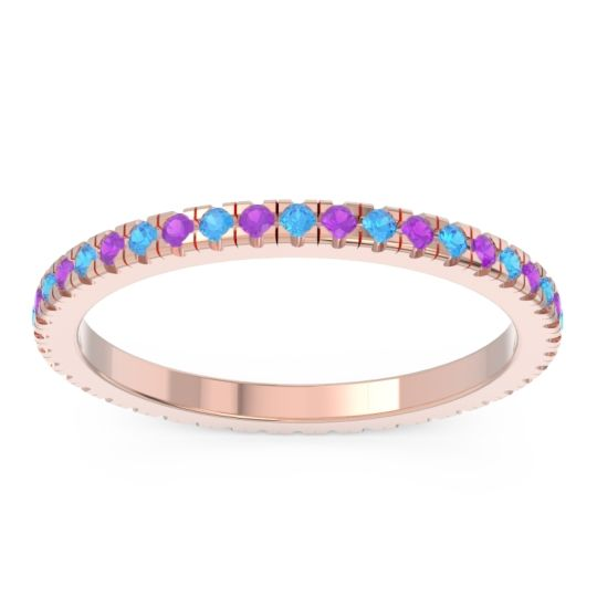 Swiss Blue Topaz Eternity Pave Kona Band with Amethyst in 18K Rose Gold
