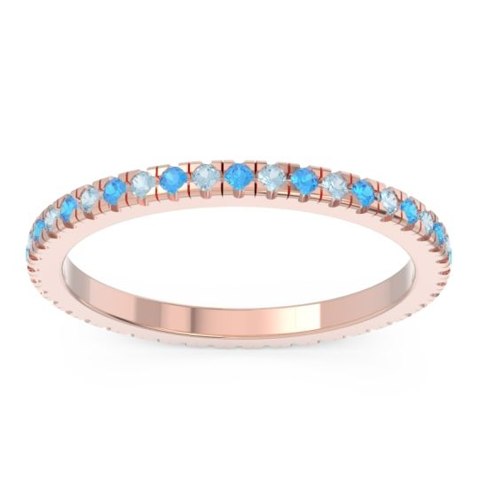 Swiss Blue Topaz Eternity Pave Kona Band with Aquamarine in 18K Rose Gold