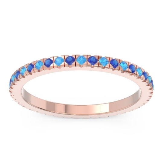 Eternity Pave Kona Swiss Blue Topaz Band with Blue Sapphire in 14K Rose Gold