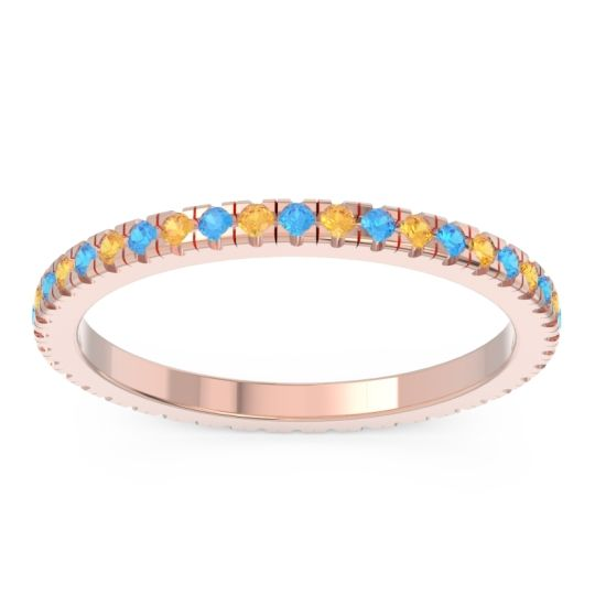 Swiss Blue Topaz Eternity Pave Kona Band with Citrine in 14K Rose Gold