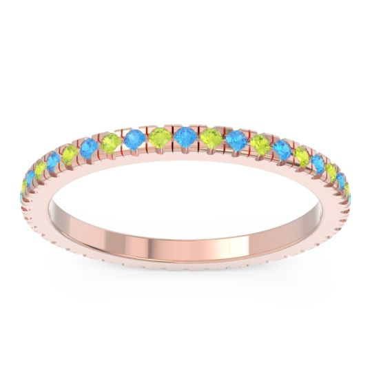 Eternity Pave Kona Swiss Blue Topaz Band with Peridot in 18K Rose Gold