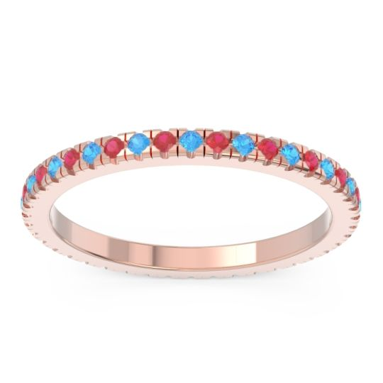 Swiss Blue Topaz Eternity Pave Kona Band with Ruby in 14K Rose Gold