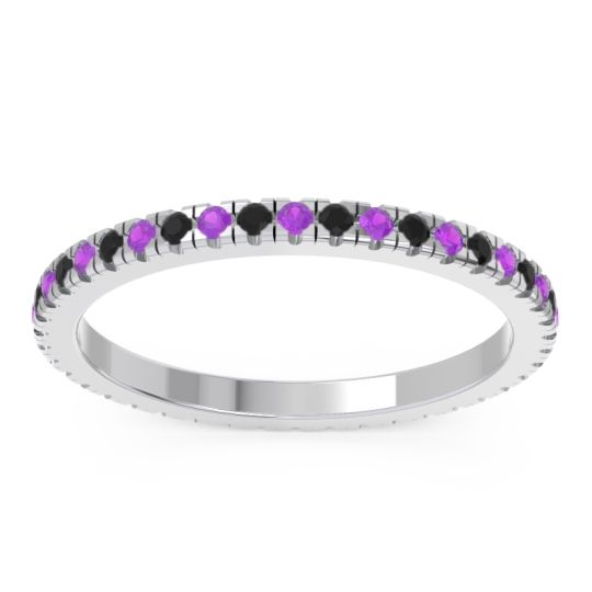 Eternity Pave Kona Amethyst Band with Black Onyx in 14k White Gold