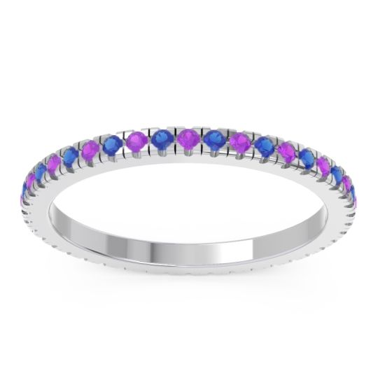 Amethyst Eternity Pave Kona Band with Blue Sapphire in Platinum
