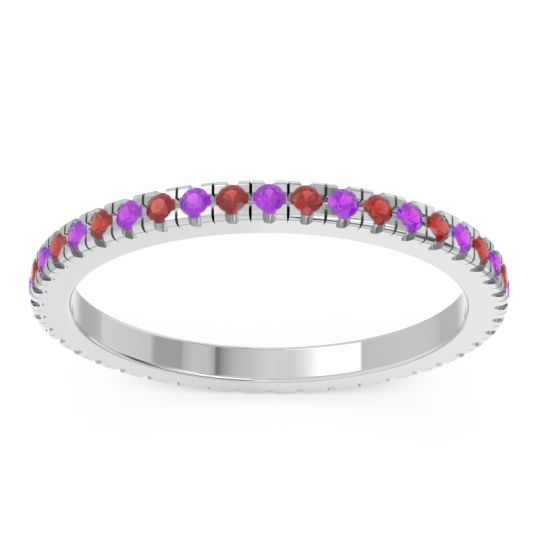 Eternity Pave Kona Amethyst Band with Garnet in 14k White Gold