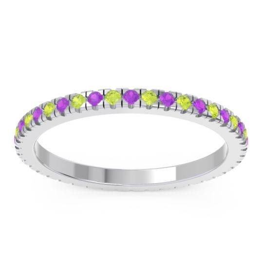 Eternity Pave Kona Amethyst Band with Peridot in 14k White Gold