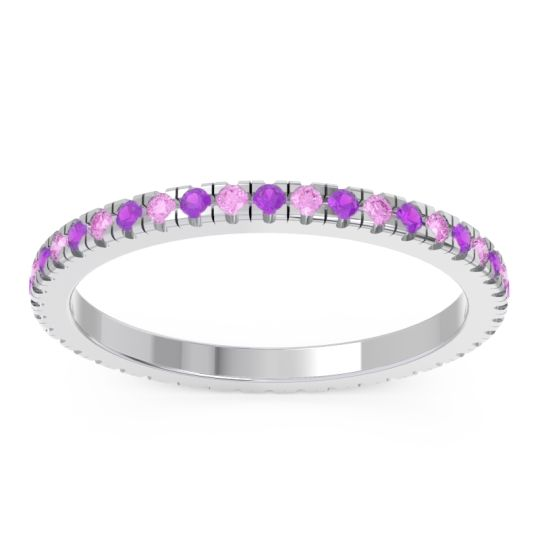 Amethyst Eternity Pave Kona Band with Pink Tourmaline in 18k White Gold