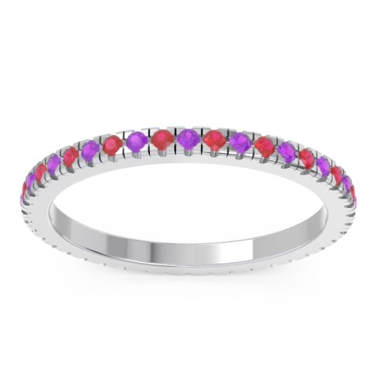 Eternity Pave Kona Amethyst Band with Ruby in Palladium