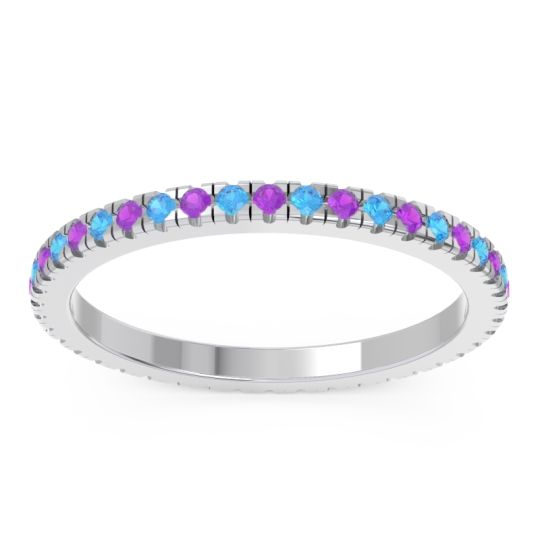 Amethyst Eternity Pave Kona Band with Swiss Blue Topaz in Palladium